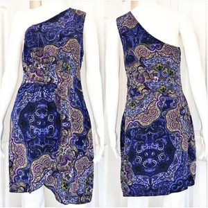 Jenny Han Paisley Print One Shoulder Silk Dress